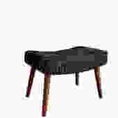 Mid Century MODERN BLACK + white OTTOMAN / Footstool by CIRCA60