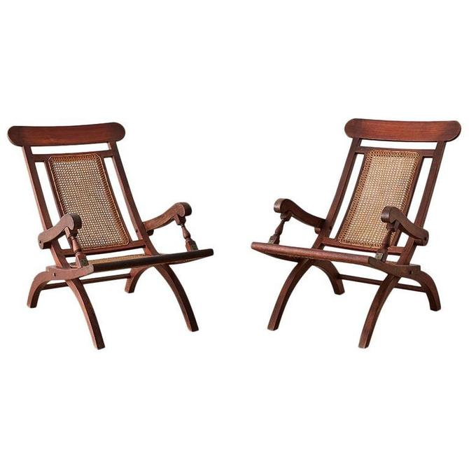 Pair of Mahogany Campaign Style Folding Plantation Chairs by ErinLaneEstate