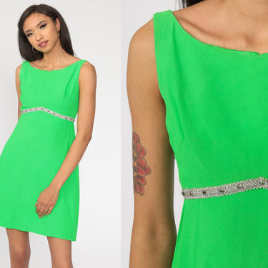 60s Cocktail Dress Mini Lime Green Silver Rhinestone Dress 1960s Sheath Party Vintage Empire Waist Formal Plain Sleeveless Extra Small xs by ShopExile