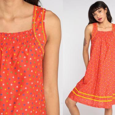 70s Sun Dress Orange Clover Print Sundress Tent Dress Midi Summer Dress 1970s Vintage Spaghetti Straps Calico Trapeze Small by ShopExile