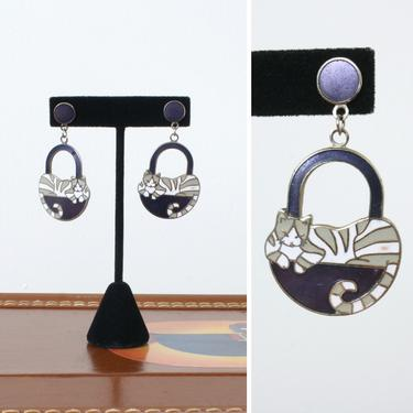 vintage 1980s cat in a basket earrings • oversized pierced enamel earrings • gray striped cats by LivingThreadsVintage
