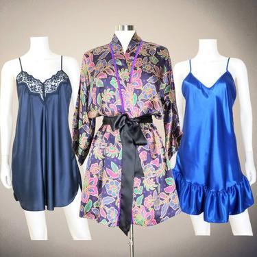 Satin Robe Chemise Nightie Set, Medium / Colorful Vintage Lingerie Party Bundle / Silky Short Nightgown Floral Robe Lot Sleepwear Loungewear by SoughtClothier