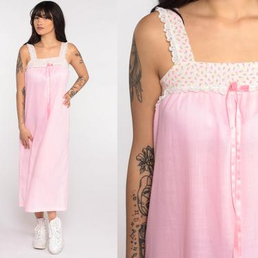 Pink Tent Dress 70s Bohemian Midi Baby Pink Floral Sundress Vintage Tent Tunic Trapeze Hippie Festival Summer Sleeveless Sun Extra Small xs by ShopExile