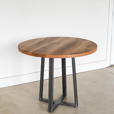 """Round Industrial Dining Table / Reclaimed Wood + Steel Pub Table / Counter Height 36"""" by wwmake"""