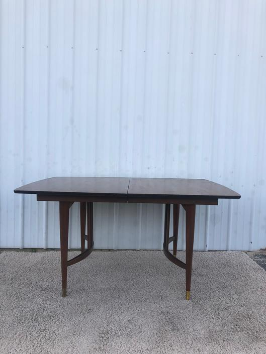 Mid Century Walnut Dining Table with Bentwood Base