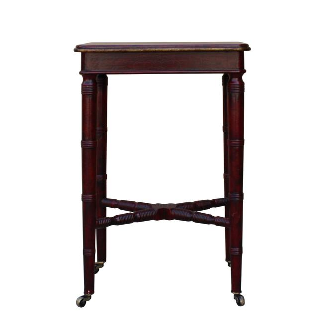 Chinese Oriental Distressed Red Scenery Graphic Side Table ws462S