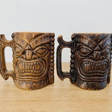 Vintage Kona Coffee Mill Hawaii Tiki Coffee Mugs - Pair by DelveChicago