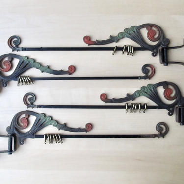 antique victorian drapery rods - polychrome cast iron swing arm curtain rod - set of four by ionesAttic
