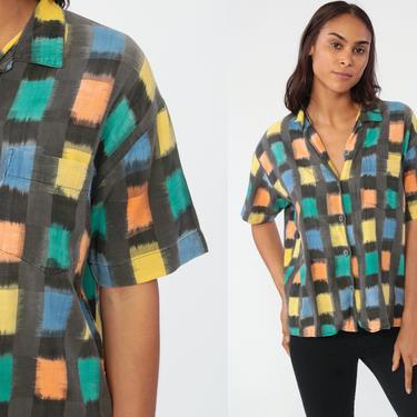Checkered Blouse 90s Esprit Sport Shirt Button Up Shirt Short Sleeve 80s Check Print Top Vintage Preppy Cotton Medium by ShopExile