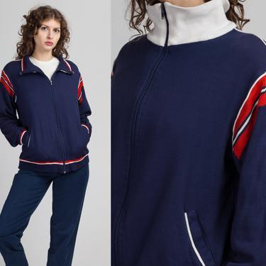 80s Navy Blue Red Striped Track Jacket - Men's Medium   Vintage Color Block Athletic Zip Up Sweatshirt by FlyingAppleVintage