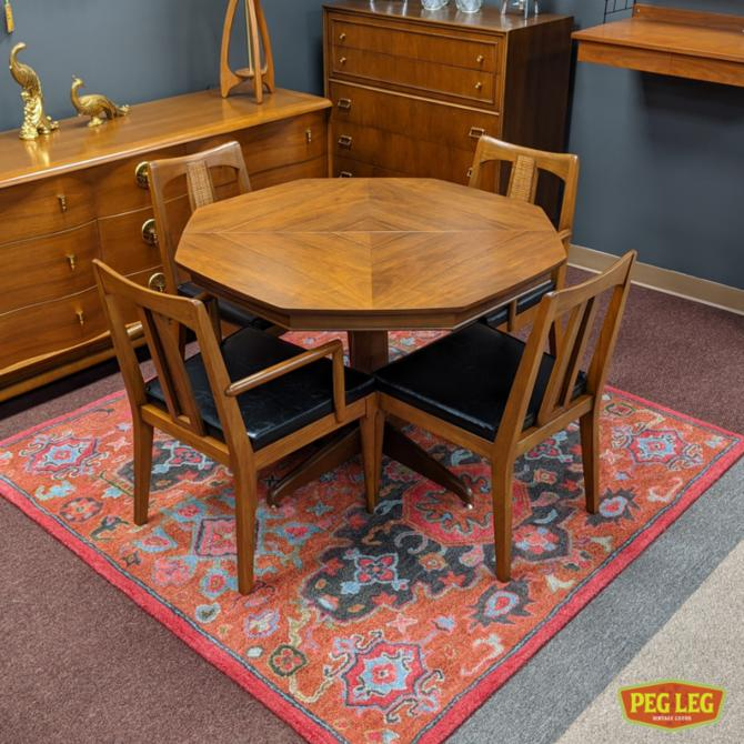 Mid-Century Modern walnut  octagonal dining table