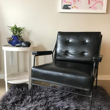 Vintage 1920s armchair, original black vinyl by LittleChairShop