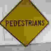 Large Yellow Pedestrian Metal Street Sign by PortlandRevibe