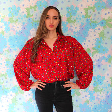 70s Red Collar Blouse with Geometric Shapes Pattern in Primary Colors, Balloon sleeves, Size, Large by AMORVINTAGESHOP