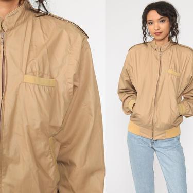 80s Tan Jacket Retro Plain Zip Up Jacket Windbreaker Bomber Sports Normcore Hipster Collar Vintage 1980s Retro Small Medium by ShopExile
