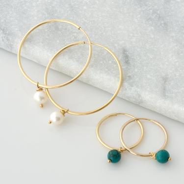Turquoise Hoop Earrings, Pearl Hoop Earrings, Amethyst Hoop Earrings, Pearl Dangle Earrings, 14K Gold Filled Sterling Silver Hoop Earrings by LEILAjewelryshop