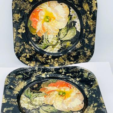 """Signed Lesley Roy Designs Hand Made USA 8"""" Plate Lepidoptera Butterfly & Flowers- Black Yellow Orange by JoAnntiques"""