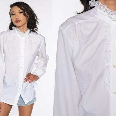 White Tuxedo Blouse 80s Boho Lace Top White Ruffle Shirt Button Up Vintage Bohemian 1980s Long Puff Sleeve Extra Large xl by ShopExile