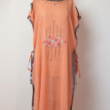 1920s Embroidered Caftan   20s Sheer Cotton Tabard Dress by FemaleHysteria