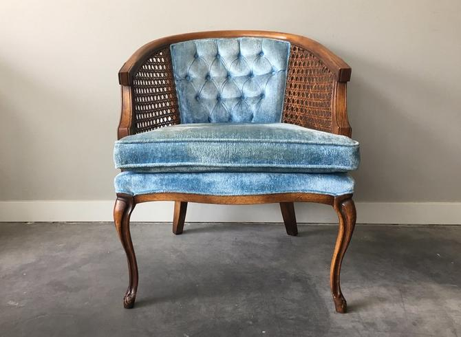 vintage cane barrel chair in blue.