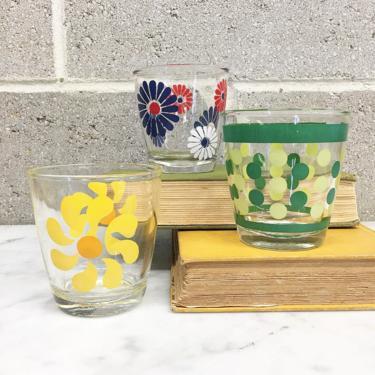 Vintage Hazel Atlas Glasses Retro 1960s Sour Cream + Set of 3 + Half Pint Size + Pinwheel + Daisy + Polka Dots + Home and Kitchen Decor by RetrospectVintage215