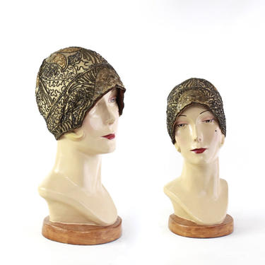 1920s Gold Heavily Beaded Sequin Cocktail Cloche - 1920s Gold Cloche Hat - 1920s Gold Flapper Hat - 20s Gold Cloche - Antique Gold Cloche by VeraciousVintageCo