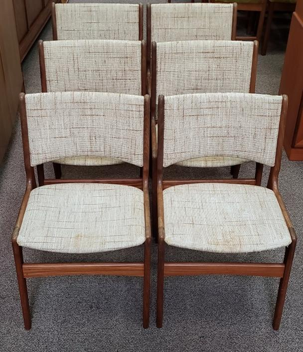 Item #S2079 Set of Six Vintage Teak Frame Dining Chairs c.1980s