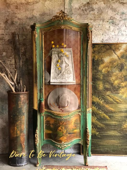 French Provincial China Armoire Cabinet - Vintage China Cabinet Armoire - French Country China Cabinet - Painted Furniture - Vintage Armoire by DareToBeVintage