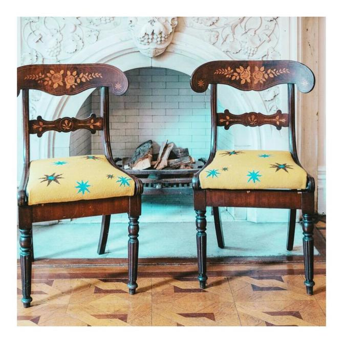 Anglo Dutch Marquetry Inlaid Klismos Chairs, Pair
