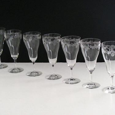 7 BRYCE Needle Etched Scroll Crystal Wine Water, Elegant Glass Set of 7, Vintage Barware, BRYCE 285-6 by eClectricityVintage
