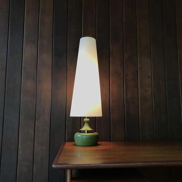 Vintage Modeline California Tall Genie Table Lamp Green Brass Mid-Century Atomic Laurel or Lightolier by BrainWashington