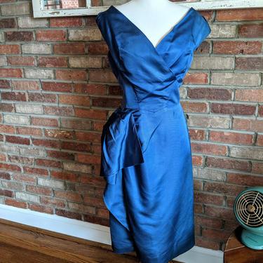 1950's Royal Blue Off-Shoulder Party Dress by BeesKneesVintageDC