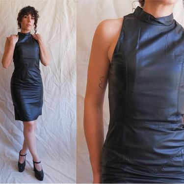 Vintage 90s Black Leather Dress/ 1990s Mock Neck Sleeveless Dress/ Size Small by bottleofbread