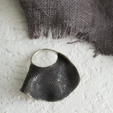 Textured Oxidized Sterling Silver Rose Petal Ring