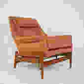 Teak reclining chair with pink upholstery