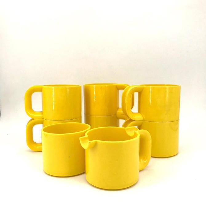 Massimo Vignelli Maxi Cups Creamer Sugar Coffee Tea Set Yellow Heller Rare First Issue 70s Vintage Mid-Century by BrainWashington