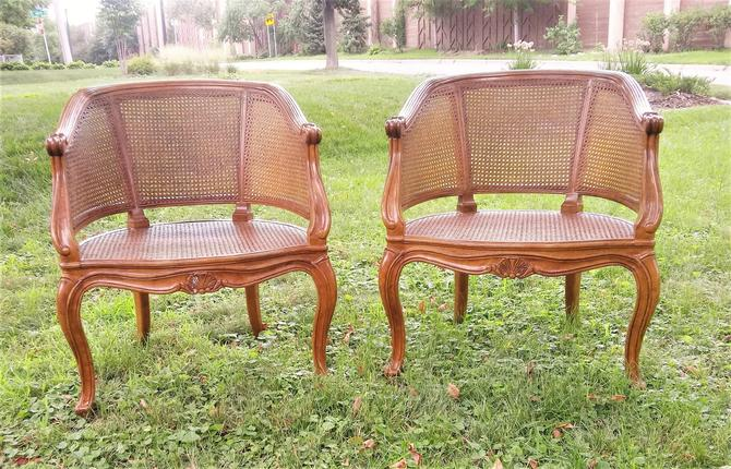 Pair of French Louis XVI Style Cane Arm Chairs, Vintage, French Country, Home Decor by 3GirlsAntiques