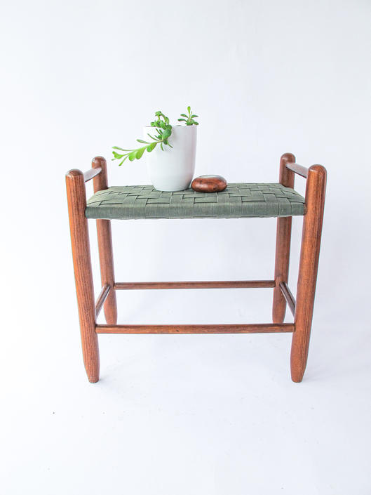 Vintage Danish Style Mid-Century Modern Stool with Solid Wood Legs and Canvas Woven Seat by PortlandRevibe