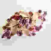 Pink Rhinestone  and Open Set Art Glass Brooch by LegendaryBeast
