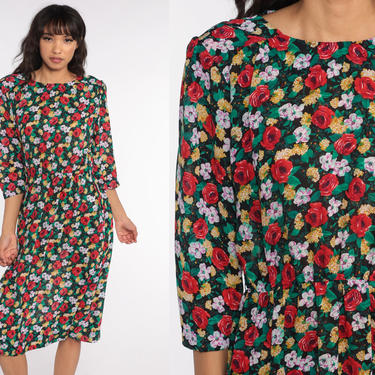 80s Floral Dress Red Rose Dress Green Puff Sleeve Dress Midi Dress 70s Secretary Vintage Boho High Waisted Bohemian 1980s Small Medium by ShopExile