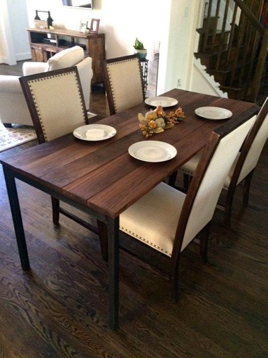 The LUDWIG Dining Table - Reclaimed Wood & Steel Kitchen Table - Reclaimed Wood Dining Table by arcandtimber