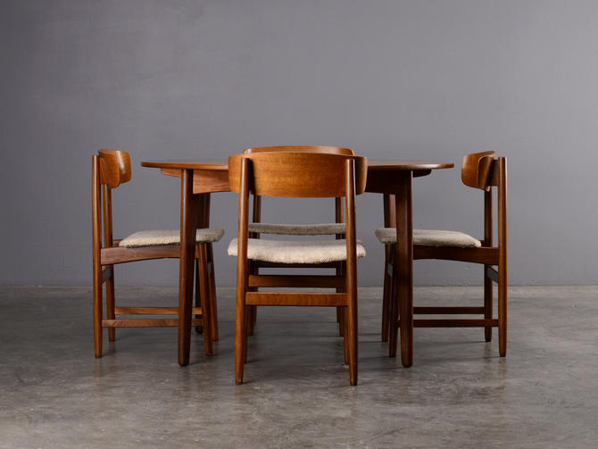 Mid Century Dining Set Round Table and 4 Chairs Danish Modern Teak by MadsenModern