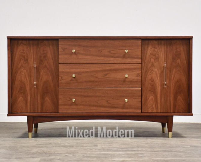 Walnut, Brass, & Lucite Credenza Cabinet by mixedmodern1