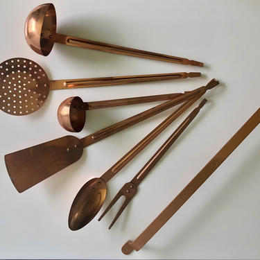 Vintage Decorative Copper Utensils with Hanger, Spoon Ladles Strainer Spatula with Rack, Copper Cooking Utensils by Northforkvintageshop