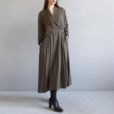 long brown black wrap dress 30s style by EELT