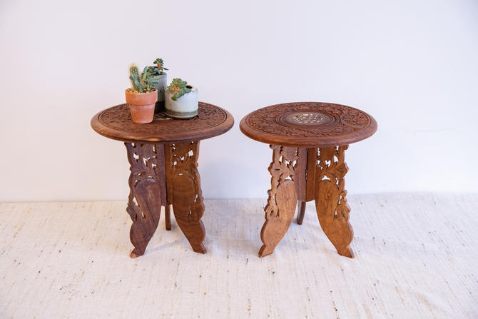 2 Available - Beautiful Hand Carved Bohemian Vintage Teak Accent Tables - Made in India (Sold Separately) by PortlandRevibe