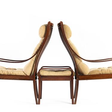 Set of Two (2) Bentwood Lounge Chairs w/ Ottoman by Fredrik A. Kayser in Rosewood and Original Fabric made in Denmark by ABTModern