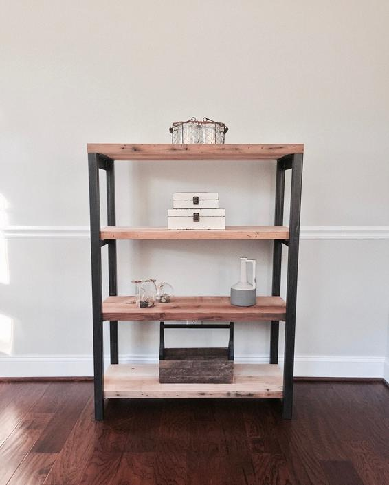 The HARLEY  Bookshelf - Reclaimed Wood & Steel - Multiple Sizes Available by arcandtimber