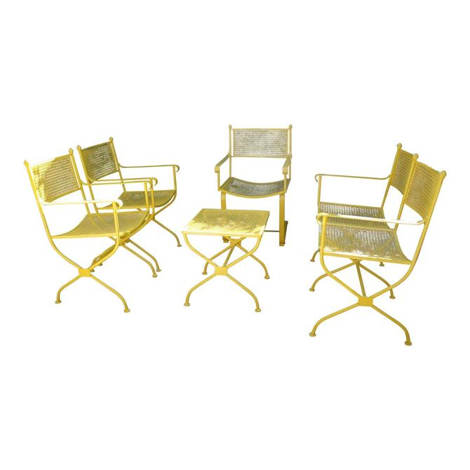 Vintage Mid Century Buttercup Yellow French Directoire Style Wrought Iron Patio Set- 5 Pieces by MetronomeVintage