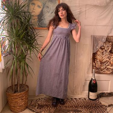 70's GINGHAM MAXI DRESS - cap flutter sleeves - square neckline - empire waist - x-small/small by GlamItToHell